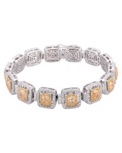 Second Hand 18ct White Gold 12.57ct Yellow and White Diamond Pave Bracelet