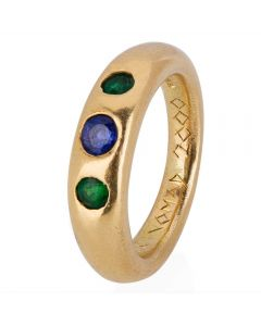 Second Hand 14ct Yellow Gold Sapphire and Emerald Three Stone Ring
