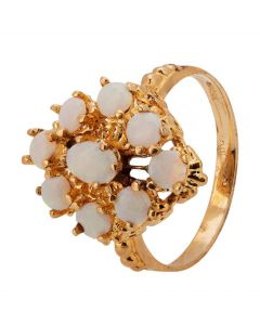 Second Hand 9ct Yellow Gold Opal Cluster Ring
