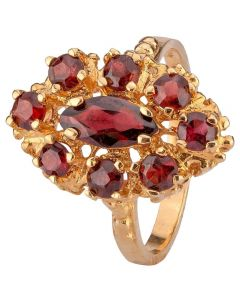 Second Hand 9ct Yellow Gold Nine Stone Garnet Ring