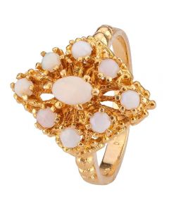 Second Hand 9ct Yellow Gold Nine Stone Opal Ring