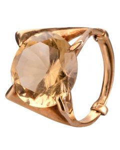 Second Hand 9ct Yellow Gold Citrine Cocktail Ring 4309217
