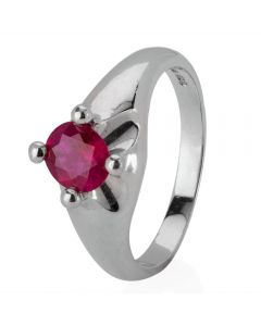 Second Hand Platinum 0.85ct Ruby Solitaire Ring