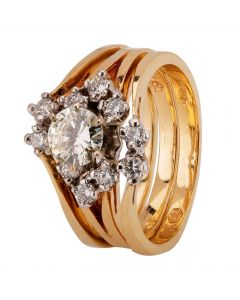 Second Hand 14ct Yellow Gold 0.90ct Diamond Cluster Ring
