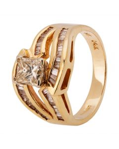 Second Hand 14ct Yellow Gold 0.85ct Diamond Twist Ring