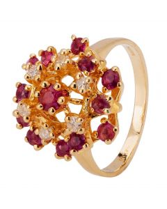 Second Hand 9ct Yellow Gold Ruby and Diamond Ring