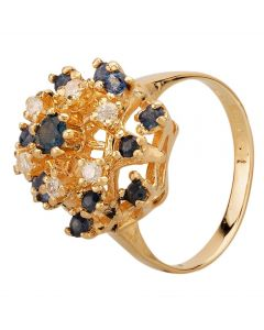 Second Hand 9ct Yellow Gold Sapphire & 0.12ct Diamond Tiered Cluster Ring