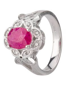 Second Hand 14ct White Gold Ruby and Diamond Cluster Ring 4312164