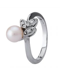 Second Hand 14ct White Gold Pearl and Diamond Ring 4312175