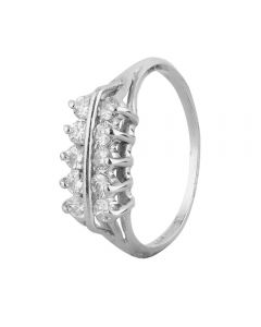 Second Hand 9ct White Gold Diamond Two Row Ring