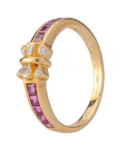 Second Hand 14ct Yellow Gold Diamond and Ruby Bow Ring