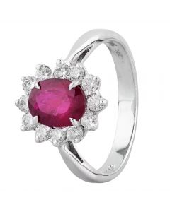 Second Hand 14ct White Gold 1.50ct Ruby and Diamond Halo Ring