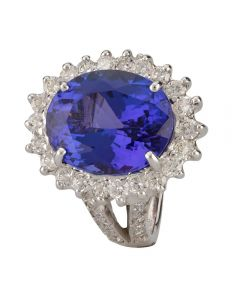 Second Hand 14ct White Gold Tanzanite and Diamond Ring 4312201