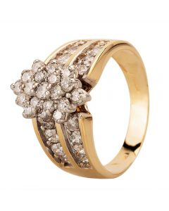 Second Hand 9ct Yellow Gold Diamond Two Row Oblong Cluster Ring