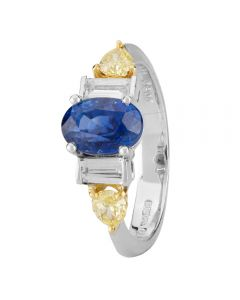 Second Hand 18ct and Platinum Sapphire and Multi Diamond Ring