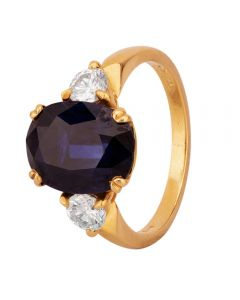 Second Hand 18ct Yellow Gold 4.00ct Sapphire and Diamond Three Stone Ring