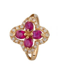 Second Hand 14ct Yellow Gold Burmese Ruby and Diamond Ring