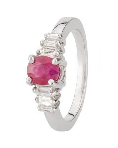 Second Hand 14ct White Gold Ruby and Diamond Ring