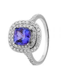 Second Hand 14ct White Gold Tanzanite and Diamond Halo Ring