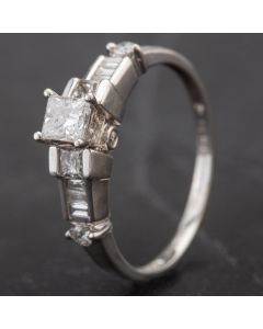 Second Hand 14ct White Gold Three Stone Baguette Diamond Fancy Shoulders Ring 4312288