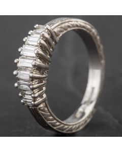 Second Hand Platinum Baguette Diamond Nine Stone Half Eternity with Patterend Band Ring 4312297