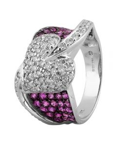 Second Hand 14ct White Gold 1.30ct Pink Sapphire and 1.00ct Diamond Ring 4312310