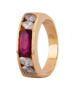 Second Hand 18ct Yellow Gold 0.85ct Ruby and 0.39ct Diamond Ring