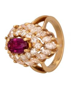 Second Hand 14ct Yellow Gold Ruby and Multi-cut Diamond Cluster Ring