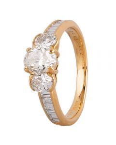 Second Hand 18ct Yellow Gold 2.00ct Diamond Trilogy Ring