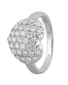 Second Hand Platinum 1.00ct Pave Diamond Heart Cluster Ring
