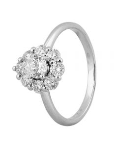 Second Hand Platinum 0.90ct Pear Shaped Diamond Cluster Ring
