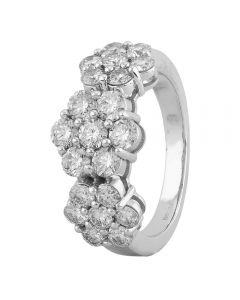 Second Hand 14ct White Gold 3.00ct Diamond Triple Flower Ring