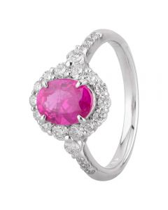 Second Hand Platinum 1.15ct Pink Sapphire 0.55ct Diamond Cluster Ring
