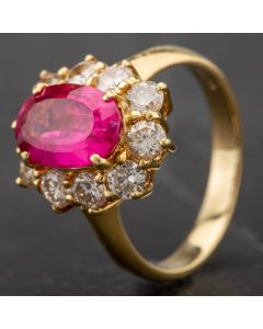 Second Hand 18ct Pink Tourmaline and Diamond Cluster Ring 4312629