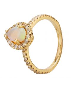 Second Hand 14ct Yellow Gold Opal and Diamond Pear Halo Ring