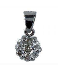 Second Hand 14ct White Gold Diamond Set Cluster Pendant