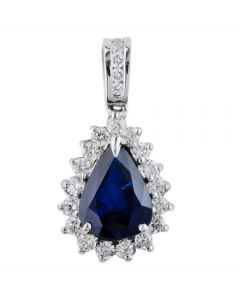 Second Hand 14ct White Gold Sapphire and Diamond Cluster Pendant