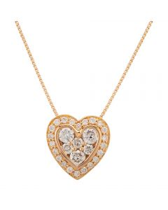 Second Hand 18ct Rose Gold Heart-Shaped Diamond Pendant GMC(120/01/05)