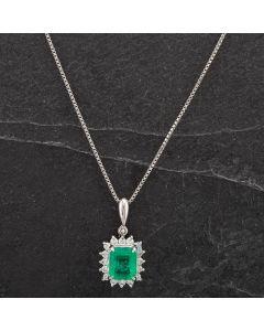Second Hand Platinum Diamond Emerald Necklace 4314431