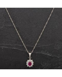 Second Hand Platinum Oval Ruby Diamond Pendant 4314472