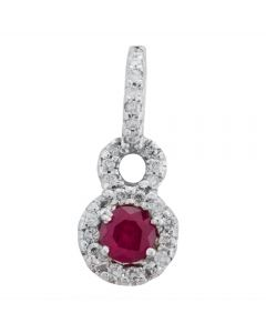 Second Hand 14ct White Gold Ruby and Diamond Pendant