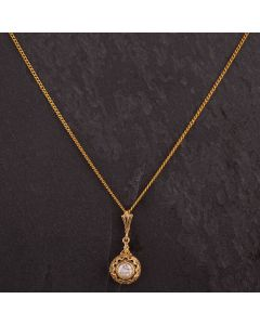 Second Hand 14ct Yellow Gold Curb Chain with 18ct Yellow Gold 0.30ct Diamond Pendant Necklace