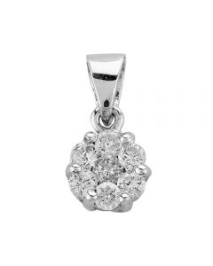 Second Hand 14ct White Gold Diamond Flower Cluster Loose Pendant