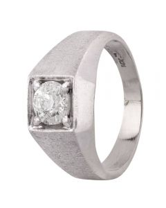 Second Hand 14ct White Gold Mens 0.80ct Diamond Signet Ring