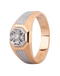 Second Hand 14ct Two Colour Gold Mens 0.20ct Diamond Signet Ring