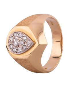 Second Hand 14ct Yellow Gold Mens Diamond Pear Shaped Signet Ring