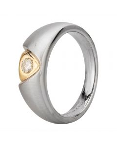 Second Hand 14ct Two Colour Gold Single Stone 0.20ct Diamond Signet Ring 4315139