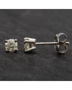 Second Hand White Gold 4 Claw Diamond Stud Earrings 4317012