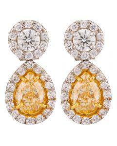 Second Hand Platinum 2.02ct Yellow Diamond Dropper Earrings