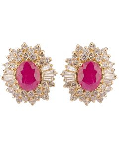 Second Hand 14ct Yellow Gold Ruby Diamond Cluster Earrings 4317103